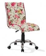Vintage židle na kolečkách Orchid se vzorem - květiny