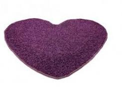 Koberec Color Shaggy srdce 120 cm - švestka