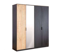 Čtyřdvéřová šatní skříň se zrcadlem Sirius - dub černý/dub zlatý