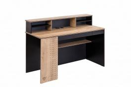 Velký psací stůl s nástavcem Sirius - dub černý/dub zlatý