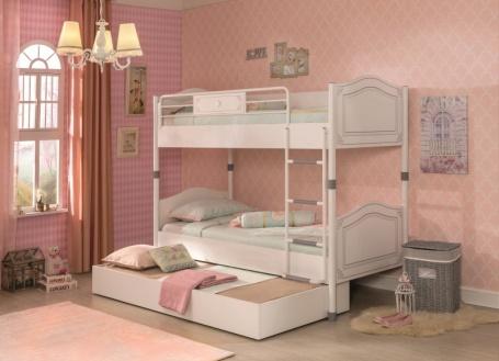 Dětská patrová postel Betty 90x200cm se zásuvkou - bílá