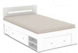 Studentská postel REA Larisa 120x200cm s nočním stolkem - bílá
