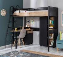 Studentský pokoj Sirius s vyvýšenou postelí - dub černý/dub zlatý