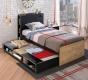 Dětská postel s úložnou přistýlkou Sirius 100x200cm - dub černý/dub zlatý