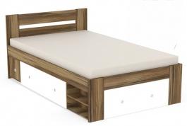 Studentská postel REA Larisa 120x200cm s nočním stolkem - ořech rockpile