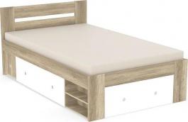 Studentská postel REA Larisa 120x200cm s nočním stolkem - dub canyon