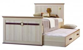 Studentská postel Cavalos 120x200cm s přistýlkou - akácie světlá/dub tmavý