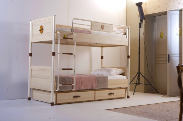 Patrová postel s přistýlkou Cavalos 90x200cm - akácie světlá/dub tmavý