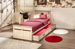 Dětská postel s přistýlkou Cavalos 100x200cm - akácie světlá/dub tmavý