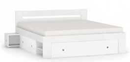 Manželská postel REA Larisa 180x200cm s nočními stolky - bílá
