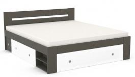 Manželská postel REA Larisa 180x200cm s nočními stolky - graphite