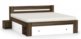Manželská postel REA Larisa 180x200cm s nočními stolky - ořech rockpile