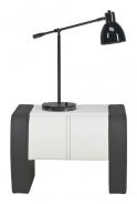 Noční stolek Naomi čalouněný - grafit/bílá