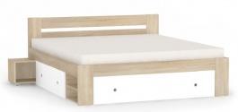Manželská postel REA Larisa 180x200cm s nočními stolky - dub bardolino
