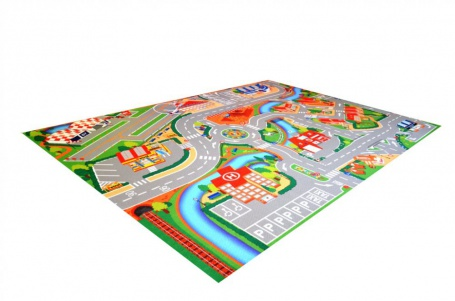 Dětský hrací koberec Město s letištěm