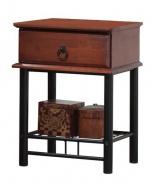 Noční stolek Cas 1 - masiv/kov - třešeň/černá