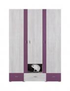 Šatní skříň Delbert 1 - borovice/fialová