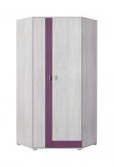 Rohová šatní skříň Delbert 2 - borovice/fialová