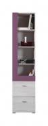 Úzká skříň Delbert 7 - borovice/fialová