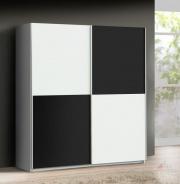 Šatní skříň Express -bílý/černý Uni mat -V17
