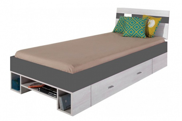 Dětská postel Delbert 90x200cm - borovice/tmavě šedá