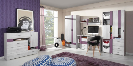 Dětský pokoj Delbert A - borovice/fialová