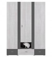 Šatní skříň Delbert 1 - borovice/tmavě šedá