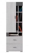Nízká skříň Delbert 9 - borovice/tmavě šedá