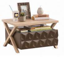 Moderní noční stolek Oscar - dub světlý/hnědá/modrá