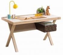 Moderní psací stůl Oscar - dub světlý/bílá/hnědá