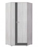 Rohová šatní skříň Delbert 2 - borovice/tmavě šedá