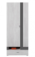 Šatní skříň Delbert 3 - borovice/tmavě šedá