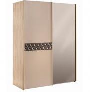 Moderní šatní skříň Oscar s posuvnými dveřmi a zrcadlem - dub světlý/béžová/hnědá