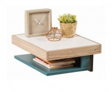 Závěsný noční stolek Oscar - dub světlý/bílá/modrá