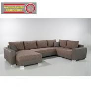 Rohová sedací souprava, ekokůže šedá 440/09 + šedohnědý melír 434/18, ABBY