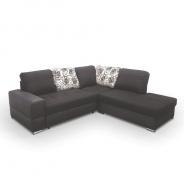 Rohová sedací souprava, rozklad/úložný prostor, P, ekokůže černá/šenil hugo černý, MULAN