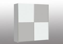 Šatní skříň Winner - Bílý Uni/Bílý Uni-Šedý