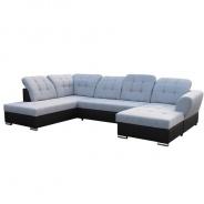 Rohová sedací souprava, ekokůže černá / látka šedá, levá, AMOTI U