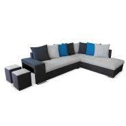 Rohová sedací souprava s taburety, tmavě šedá / světle šedá / modrá, pravá, JEMEN