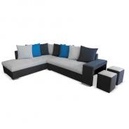 Rohová sedací souprava s taburety, tmavě šedá / světle šedá / modrá, levá, JEMEN
