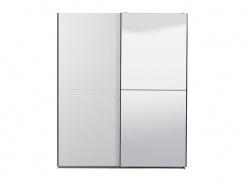 Šatní skříň s posuvnými dveřmi a zrcadlem Aubrey - bílá