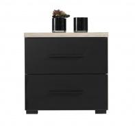 Noční stolek Marcus - dub šedý/černá