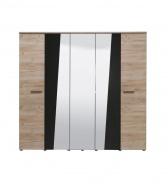 Pětidvéřová šatní skříň se zrcadlem Marcus - dub šedý/černá