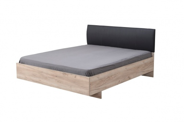 Manželská postel 160x200cm Marcus - dub šedý/černá