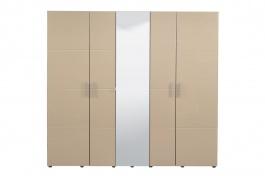 Pětidvéřová šatní skříň se zrcadlem Ciri - dub šedý/béžová