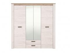 Čtyřdveřová šatní skříň se zrcadlem Henry - dub bílý/dub šedý