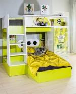 Patrová postel Messi - zelená/bílá