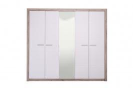 Pětidvéřová šatní skříň se zrcadlem Shine - dub šedý/bílá