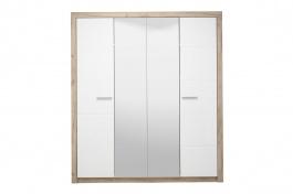 Čtyřdvéřová šatní skříň se zrcadly Shine - dub šedý/bílá