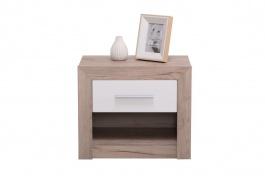 Noční stolek se zásuvkou Shine - dub šedý/bílá
